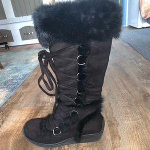 Knee high (almost) black furry boots